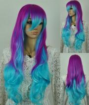 long multi-color anime wig cosplay