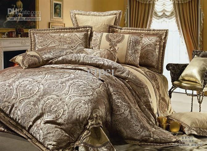 Satin Silk Floss Jacquard Set Bedding 100 Cotton Golden