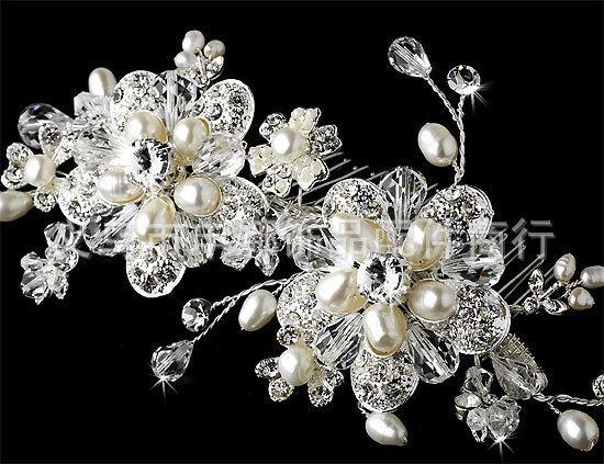 2013 Diamond Flower Pearl Bridal Comb Headpiece Flora