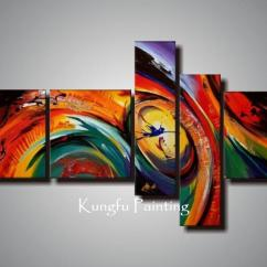 Paintings For Living Room Aico Furniture Set 100 Hand Painted Unframed Abstract 5 Panel Canvas Art Cheap Three Trees Best Prints