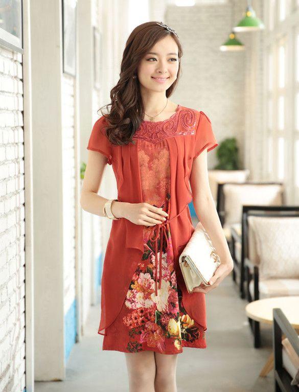 Large Print Floral Dress Women 2015