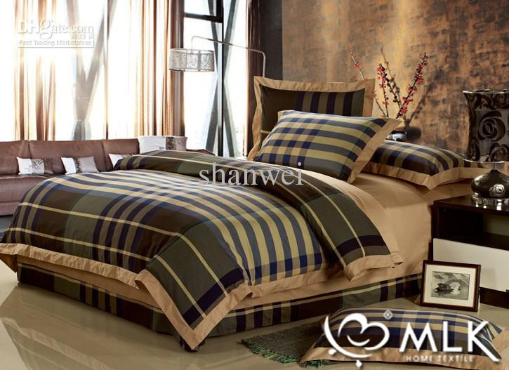 Top Quality Yarn Dyed 100 Cotton Man Plaid Duvet Cover Sheet Sets Queen Or King Size Bedding