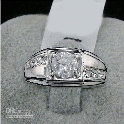 New Fashion 2016 Swarovski Crystal Men Ring White 18k