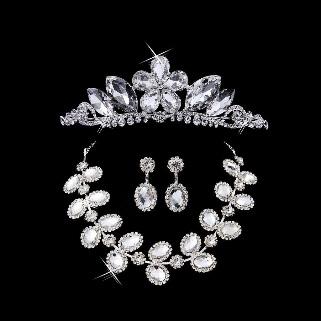 Bridal Jewelry Bridal Accessories Wedding Headdress Threepiece Sets of Chain Crown Wedding