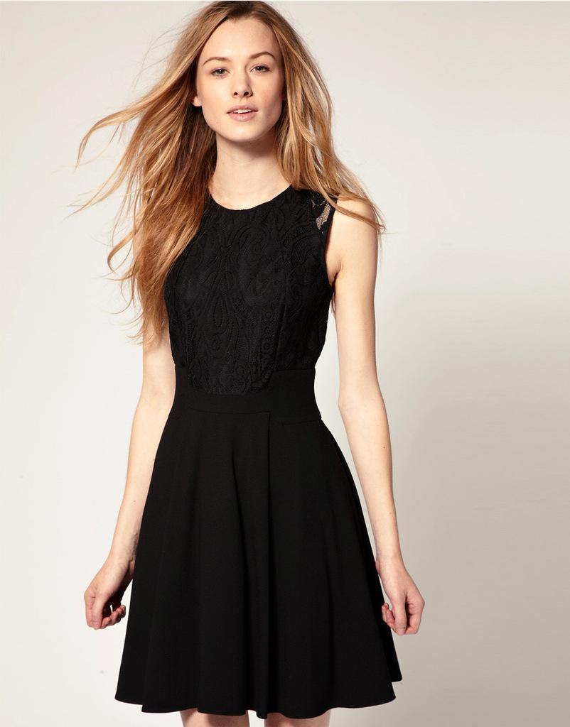 Black Lace Casual Dresses Prom Dresses Summer European Style Princess Dress Casual Dress Prom