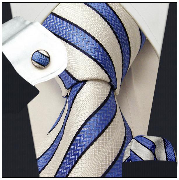 Stripes Blue Azure White Tie Set 100% Silk Men's Neckties