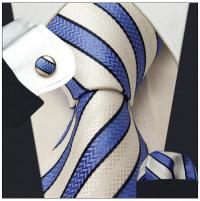 Stripes Blue Azure White Tie Set 100% Silk Men's Neckties