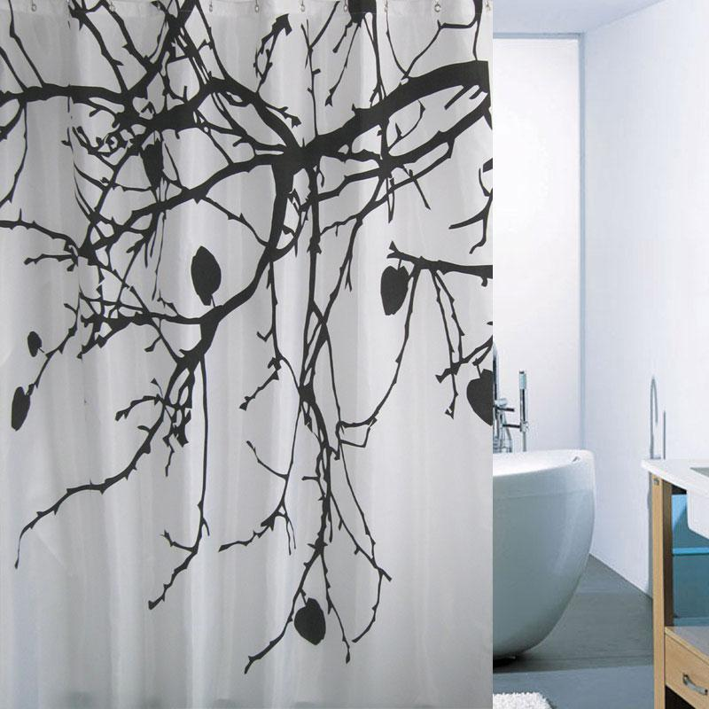 Branch Printed Fabric Shower Curtain Polyester Waterproof With