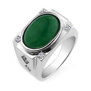 Jpf 925 Sterling Silver Jewelry Rings Emerald Green Male
