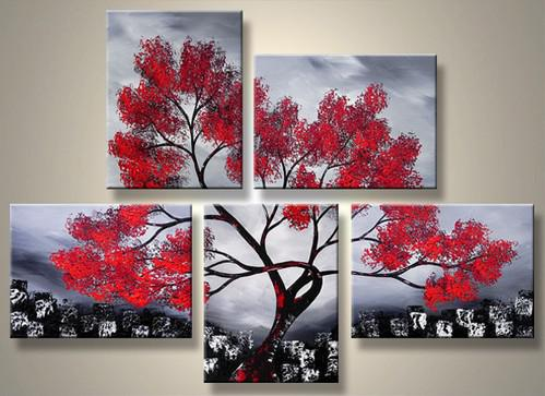 Red Tree Decorative Painting Art Home Decor Landscape Oil