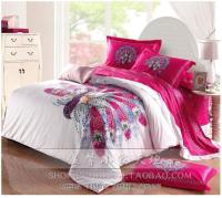 Peacock Bird Feather Hot Pink Bedding Sets Queen Size ...