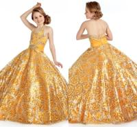 Gorgeous Gold Girl's Party Pageant Dresses Halter Crystals ...