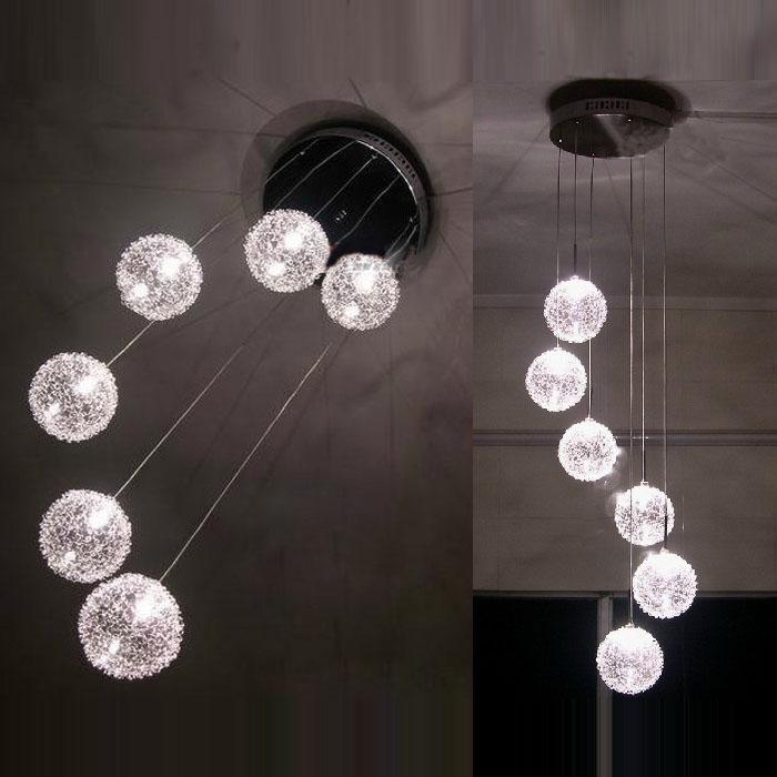 6 Glass Aluminum Wire Balls Stair Case Pendant Light