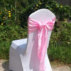 Chair Covers With Pink Bows Christmas Hat Satin Sash Bow Ribbon Wedding