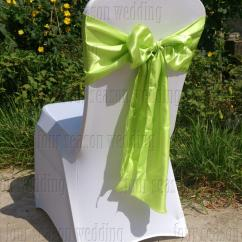 Green Banquet Chair Covers Wing Ikea Light Apple Satin Sash Bow Ribbon