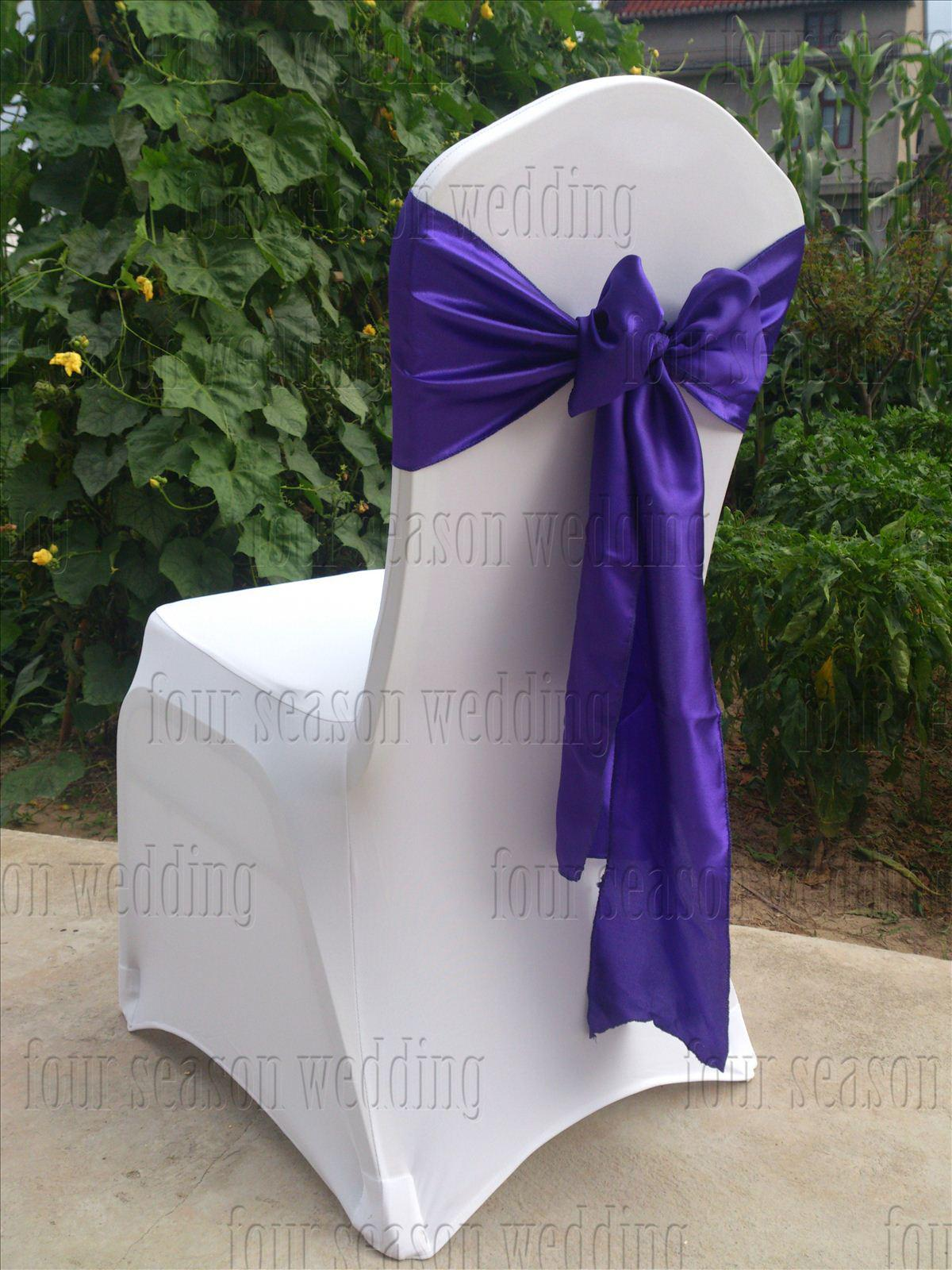 purple chair sashes for weddings slings chairs satin sash bow ribbon wedding party banquet