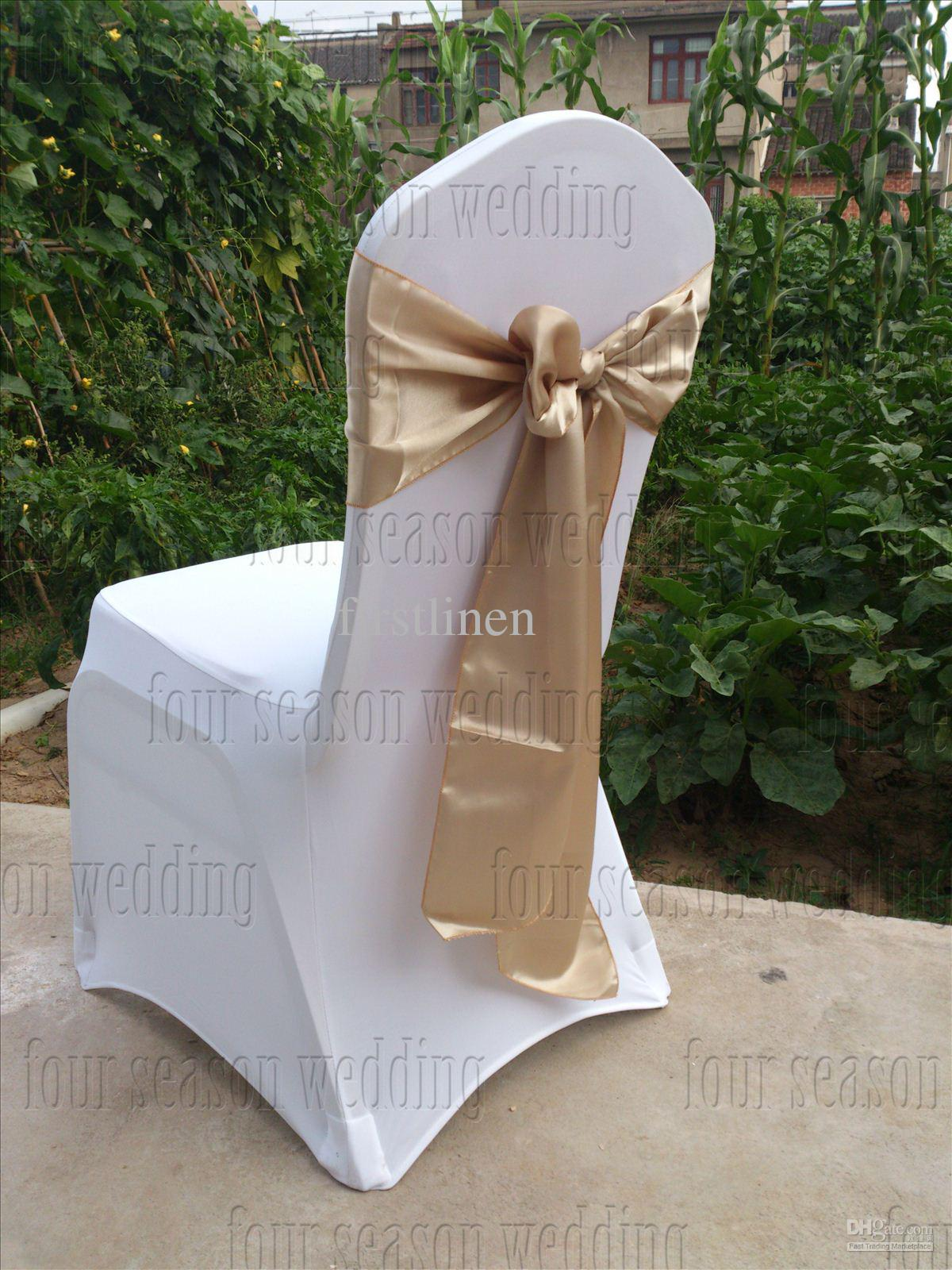 chair covers wedding costs steel z khaki satin sash bow ribbon party banquet