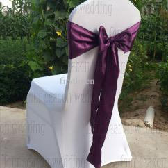 Purple Chair Sashes For Weddings Covers Winter Dark Satin Sash Bow Ribbon Wedding