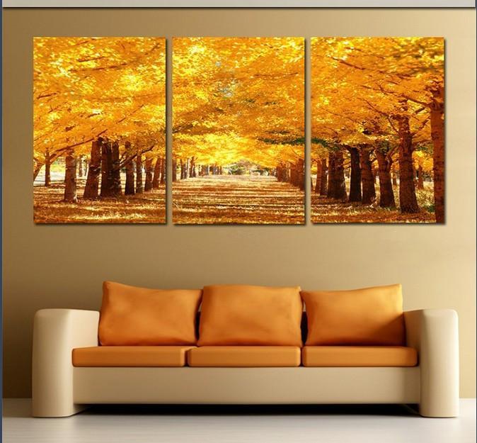 Framed 3 Panel Large Golden Avenue Landscape Wall Art