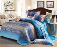 Blue Grey Stripe Satin Comforter Bedding Set King Size ...