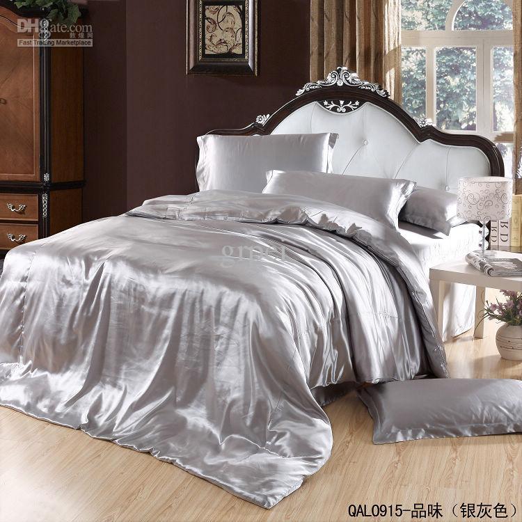 acheter gris argent soie satin ensemble de literie king size reine couette housse de couette dans un sac draps de lit couvre lit chambre a coucher linge