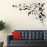 Large Black Vine Art Wall Decals, DIY Home Wall Decor ...