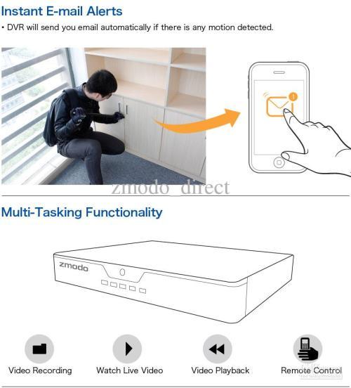 small resolution of zmodo 8 ch cctv surveillance dvr 8 600tvl outdoor ir night vision camera system