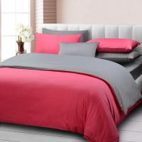 Pure Color Home Textile Pink And Dark Grey Bedding Set ...