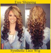 cheap long curly two tone