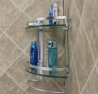 Best Aluminum 2 Tier Glass Shelf Corner Shower Holder ...