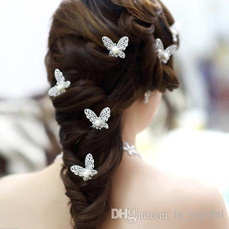 Shinning Butterfly Hair Clips MINI Rhinestone Pearl Hair