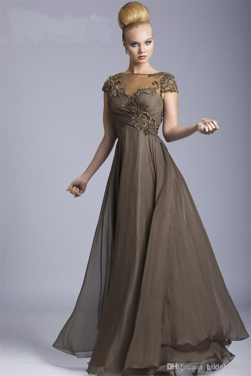Brown Chiffon Short Sleeves Mother Of The Bride Dresses