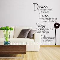 Black Vinyl Quote Motto Poem Words Door Wall Mural Decal ...