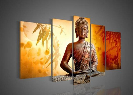 Big Size Hand Painted Hi Q Wall Art Home Decor Oil Painting On Canvas Religious Sakyamuni Buddha Statue Bamboo Leaves Orange Framed