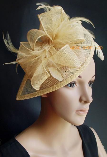 2017 Champagne Gold Sinamay FascinatorHair Accessory With