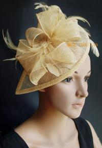 2017 Champagne Gold Sinamay Fascinator/Hair Accessory With ...