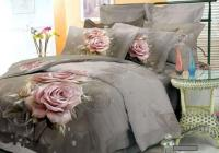 Grey Pink Floral Bedding Comforter Set King Queen Size ...