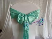 100 Tiffany Blue Satin Chair Ribbon Wedding Chair Cover ...