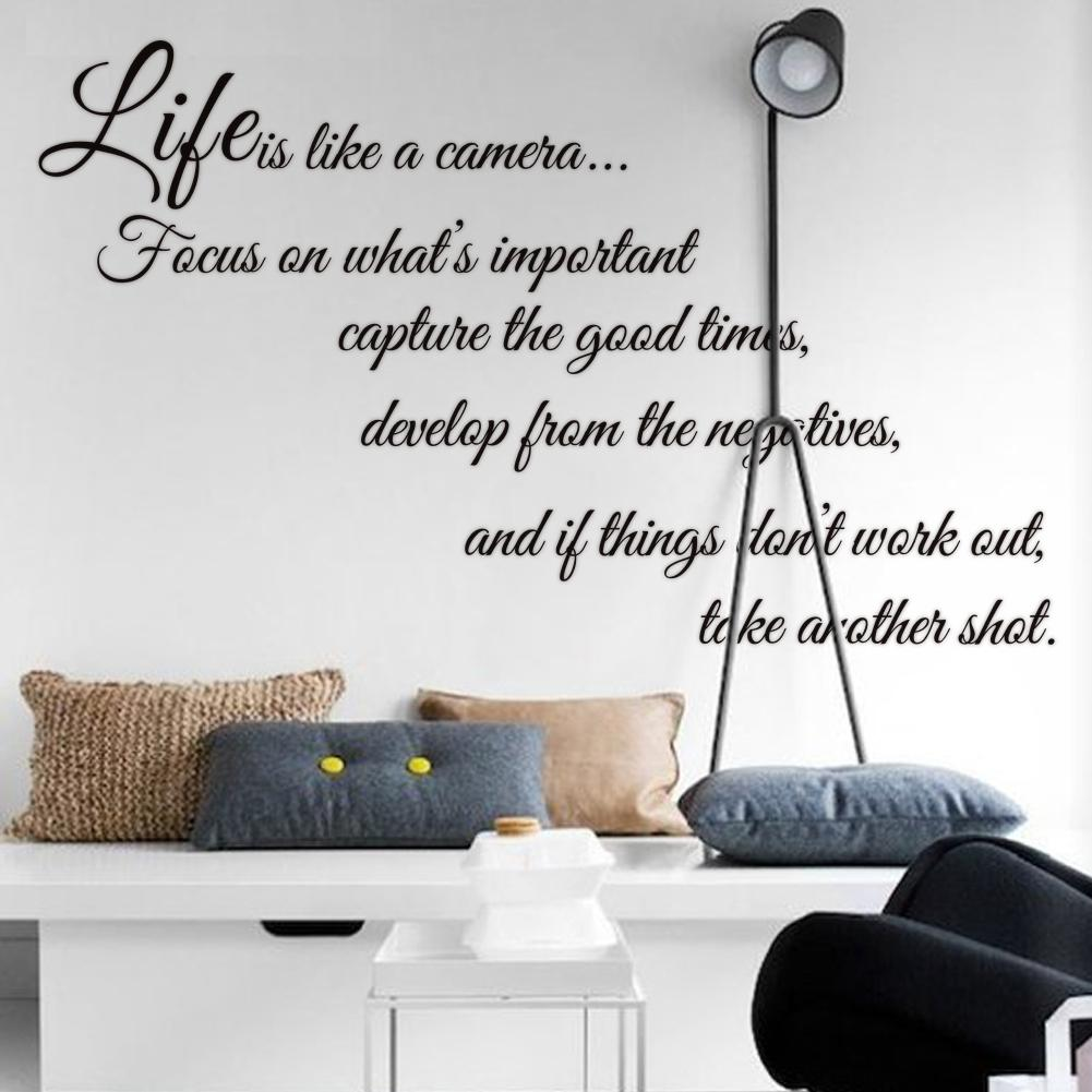 Wees geduldig wall sticker fun walls - Life Is Like A Camera Quote Wall Stickers Decal Home Decor For Living Bed Room Mural