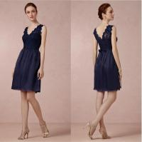 Navy Blue Short Bridesmaid Dress Lace Bodice Tulle Skirt ...