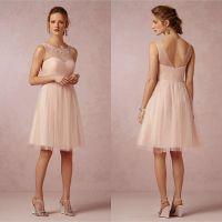 2015 Blush Bridesmaid Dresses Illusion Crew Neck Short ...