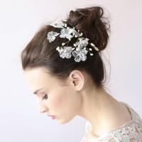 White Crystal Flower Hair Clip Lace Sparkle Leaf Hair Clip ...