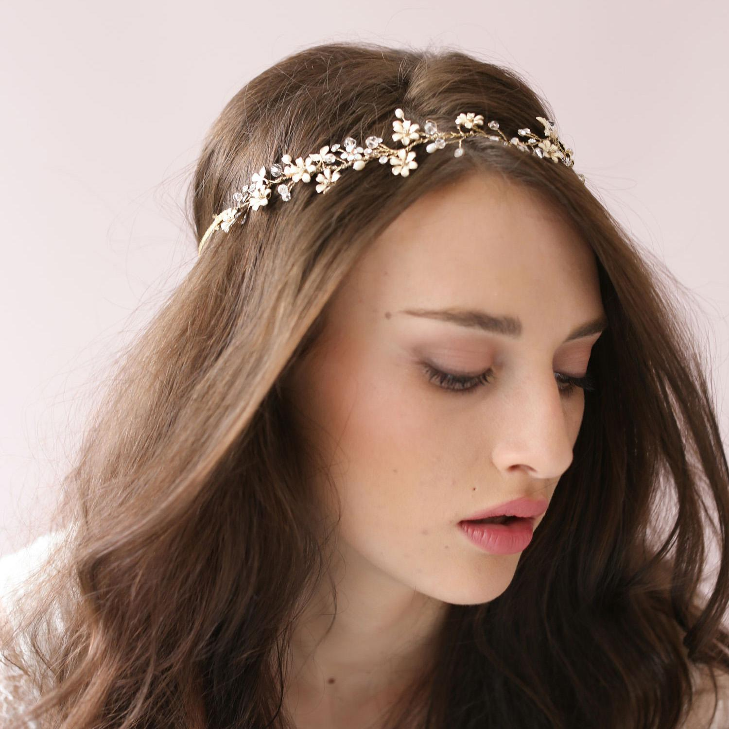 Tiny Enamel Blossom Crystal Hair Vine Bridal Hairband