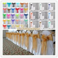 Cheap Yellow Chair Covers Lounge Canopy Wedding Decorations Organza Bow Cover Sash Anniversary Party Banquet ...