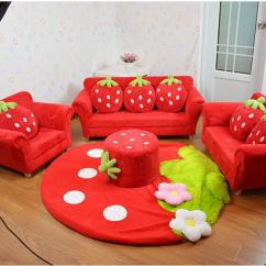 Wholesale Kids Chairs Telescope Beach Coral Velvet Children Sofa Cushion Furniture Set Cute Strawberry Style Couch For ...