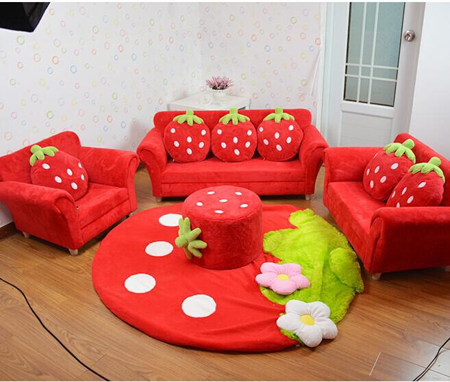 cushion sofa set sleeper sheets queen 2019 coral velvet children chairs furniture cute strawberry style couch for kids room decor christmas birthday gift from jackylucy