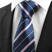 Hot Sale Neck Ties Pink White Striped Navy Blue Jacquard ...