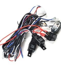 kawell cm ws12d 2 legs wiring harness of double color light bar include plug and play on and off switch kit 300w 30 amp relay [ 1001 x 1001 Pixel ]