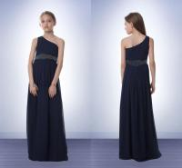 Chiffon Junior Bridesmaid Dresses Navy Blue One Shoulder