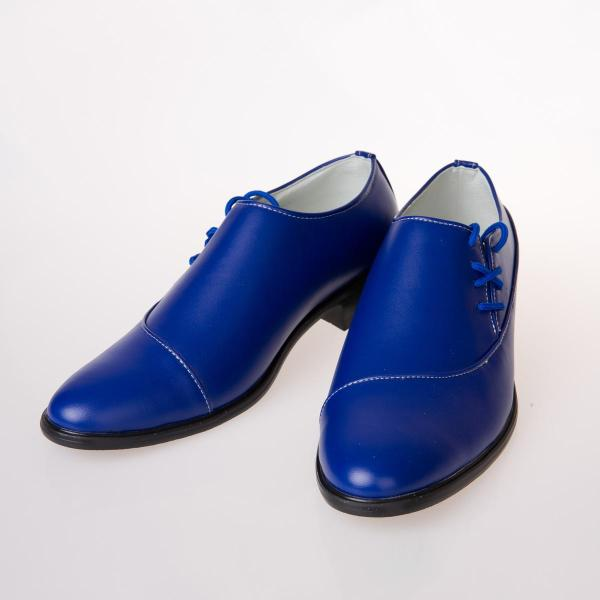 2015 Fashion Men Royal Blue Leather Waterproof Shoe Men' Wedding Shoes Lace